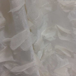 "Drapery Street - Feathery Silk, White, 92"" long,  designer knife pleat - A soft flowing fabric that combines the beauty of silk with a feathery silk applique.  Available in 3 colors."