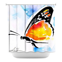 DiaNoche Designs - Shower Curtain Artistic - Butterfly Love XXX - DiaNoche Designs works with artists from around the world to bring unique, artistic products to decorate all aspects of your home.  Our designer Shower Curtains will be the talk of every guest to visit your bathroom!  Our Shower Curtains have Sewn reinforced holes for curtain rings, Shower Curtain Rings Not Included.  Dye Sublimation printing adheres the ink to the material for long life and durability. Machine Wash upon arrival for maximum softness. Made in USA.  Shower Curtain Rings Not Included.