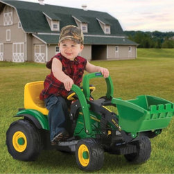 Peg Perego USA Inc - Peg Perego John Deere Mini Loader Tractor Battery Powered Riding Toy Multicolor - Shop for Tricycles and Riding Toys from Hayneedle.com! Allow your preschooler to turn any backyard into a construction site with the Peg Perego John Deere Power Loader - Preschool a mini John Deere tractor with a fully-functioning front loader that allows you to scoop carry and dump loads from the driver's seat. The easy-to-assemble tractor operates at 2.25 miles per hour indoors or outside on smooth level grass dirt or paved surface and brakes automatically if a foot is lifted from the accelerator. The seat adjusts for growing legs and a 6-volt rechargeable battery and charger is included.About Peg PeregoAfter the birth of his infant son in 1949 Giuseppe Perego was unhappy with the minimal selection of juvenile products and decided to design his own baby carriage. His wife added beautiful functional fabrics and the overall aesthetics caught the attention of other parents in the Peregos' small Italian neighborhood. They were inundated with requests by neighbors for carriages of their own and Peg Perego was born. Before long the company introduced high chairs strollers and other juvenile products. With each new product the family commitment to quality continued. Always thinking forward Peg Perego has never rested on past products or designs; it continues to stay current with parents' changing needs and new research that highlights the health and safety of infants and juveniles.