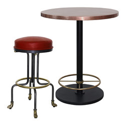 Leon Bar Stool & Bistro Bar Table with Copper Top - Leon Bar Stool (BA71913) and Bistro Bar Table with Copper Top (BA7157). Custom sizing available. Designed by Shah Gilani, ASFD.