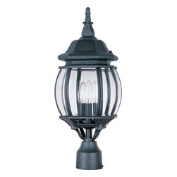 Maxim Lighting - Maxim Lighting Crown Hill Traditional Outdoor Post Lantern Light X-KB5301 - From the Crown Hill Collection, this elegant spherical shaped Maxim Lighting outdoor post lantern light features traditional details and a unique shape that pulls the eye in. This post light features an elegant botanical finial paired with a domed roof, all finished in a charming Rust Patina hue. Clear beveled glass panels ensure ample light will shine through.