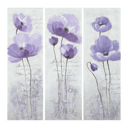 Safavieh - Purple Poppy 3 Pc Painting - Stylish and sophisticated, each of these painted canvas on wood paintings brings the elegance of the purple poppy to any room. Heavy, two-dimensional brushstrokes on each  painting's chic grey background and classic black script make this triptych a contemporary classic. Three pieces.