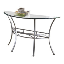 Hillsdale - Hillsdale Abbington Console/Sofa Table with Glass Top - Hillsdale - Console Tables - 4885OTS - The Hillsdale Abbington Console Table is elegantly contemporary with a sleek eye-catching design. It has a glass top with curved legs and a metalwork design. Created of glass and silver pewter finished metal this table is practical and easy to clean and sturdy enough to take a beating but far from industrial. The intricate scrollwork at its middle makes this piece a delicate and understated addition as a console table to any room. This practical and adaptable console table will be will be a natural fit in any hallway living room or foyer.