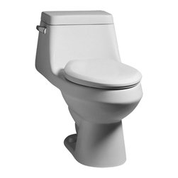 "American Standard - American Standard 2862.056.020 Fairfield Elongated Toilet With Seat, White - American Standard 2862.056.020 Fairfield Elongated One Piece Toilet With Seat,  White. This elongated single-piece toilet features a vitreous china construction, a low-profile style, a low-consumption flush of 1.6 gallons, an elongated siphon action bowl, a high-volume 3"" flush valve, a pilot fill valve, a 2"" fully-glazed trapway, a color-matched heavy-duty slow-close plastic seat and cover, a polished chrome left side-mounted actuator, and 2 color-matched bolt hole covers."
