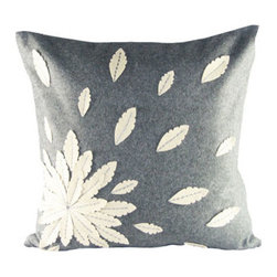 Design Accents - Grey and Ivory Felt Applique Flower Felt 20 x 20 Decorative Pillow - - Stylish and fun pillow with felt applique.  - Cover Material: Felt pillow cover  - Fill Material : Down feather insert  - Cleaning/Care: Dry Clean Only  - Fabric Material: Felt Design Accents - SL 28884 Applique Flower Grey
