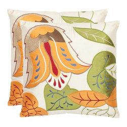 Safavieh - Floral Breeze Accent Pillow - Orange,White - Floral Breeze Accent Pillow - Orange,White