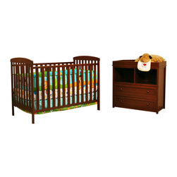 AFG Baby - AFG Baby Leila Crib & Changer Set in Espresso - The Langley Crib and Dresser Nursery Set is the perfect choice for the beginning of the baby's room. This delightful set pairs a classic baby crib with a spacious dresser, both made of beautiful solid hardwood and nontoxic finishes. The crib itself boasts a 4-level adjustable mattress support to accompany the child's needs throughout his/her growth. The Dresser includes 2 generously-sized shelves and drawers for convenient storage. Rails along the top of the dresser allow it to also function as a changing table.