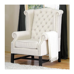 Wholesale Interiors - Baxton Studio Wing Chair - A refined elegance with a hint of regal inspiration sets the Sussex Club Chair in a class of its own. Taking basic light beige linen rather than a rich, brightly-colored brocade, the chair's stately form is juxtaposition against the fabric. Button tufting accents the back while silver nail head trim lines the scalloped armrests and backrest. The Sussex Chair should be spot cleaned. Features: -Set of 2.-Sussex.-Material: Linen.-Light beige linen fabric upholstery.-Birch frame with black stained legs.-High density polyurethane foam cushioning.-Button tufted backrest.-Baxton Studio collection.-Collection: Baxton Studio.-Distressed: No.Dimensions: -Dimensions: 42.75'' H x 27'' W x 31.5'' D.-Overall Product Weight: 43 lbs.