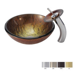 Kraus - Kraus Triton Glass Vessel Sink and Waterfall Faucet Gold - *Add a touch of elegance to your bathroom with a glass sink combo from Kraus