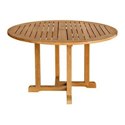 "Oxford Teak 48"" Round Dining Table - Simple yet sturdy, the oxford dining tables are available in various sizes to accommodate all living space needs."