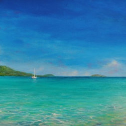 "Original Caribbean Seascape Painting  Magen's Bay - Magen's Bay Rocks is a 20""x40"" original acrylic seascape on stretched canvas professionally framed in a 2"" wide white wood frame."