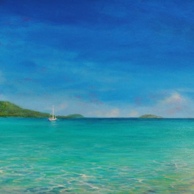 """Original Caribbean Seascape Painting  Magen's Bay - Magen's Bay Rocks is a 20""""x40"""" original acrylic seascape on stretched canvas professionally framed in a 2"""" wide white wood frame."""