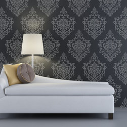 Ornamental Cartouche Damask Stencil - Ornamental Cartouche Damask Stencil from Royal Design Studio Stencils. This single panel pattern can be repeated to create a custom wallpaper effect, as shown, or stencil a single motif or random pattern on a feature wall.