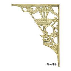 Vintage Style Hooks, Shelves, and Brackets - Cast solid brass shelf bracket in a reproduction of Eastlake original brackets.  Use with either wood or glass to make high quality shelving.  Excellent with Mission, Arts & Crafts, and Modern Streamline styles as well as Eastlake.