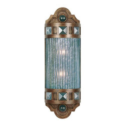 Fine Art Lamps - Scheherazade Blue Glass Sconce, 711150-3ST - Recalling the era of the old-time movie palaces, this exquisite wall sconce is fashioned from dark bronze metal and sports a colored shade crafted from handblown glass. It's perfect for a home theater, spa bath or anywhere you want to add a touch of drama to your surroundings.