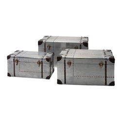 iMax - Brewer Aluminum Trunks, Set of 3 - Traveling light: A trio of aluminum Trunks is embellished with leather look accents and rivets reminiscent of the glory days of aviation.