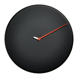 Progetti - Less 1865 Black Wall Clock - Wall clock made in wood. Battery quartz movement.