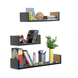 Blancho Bedding - [Gray Space] U-Shaped Leather Wall Shelf / Bookshelf / Floating Shelf (Set of 3) - These exquisitely crafted U Shaped Wall Shelves display the art of woodworking and add a refreshing element to your home. Versatile in design, these leather wall shelves come in various colors and patterns. They spice up your home's decor, and create a multifunctional storage unit for all around your home. These elegant pieces of wall decor can be used for various purposes. It is ideal for displaying keepsakes, books, CDs, photo frames and so much more. Install as shown or you may separate the shelves to create a layout that suits your taste and your style. Each box serves as a practical shelf, as well as a great wall decoration.