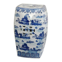 "Oriental Furniture - 18"" Square Landscape Blue and White Porcelain Garden Stool - Square decorative garden stool with royal blue Asian art motif. Ming blue and white landscape pattern features detailed mountain and pagoda accents. Durable porcelain stool has traditional pierced medallions on the sides and top. Display indoors in a home or office, as occasional table, stool, or stand, or pair in front of a sofa or love seat for a unique coffee table."