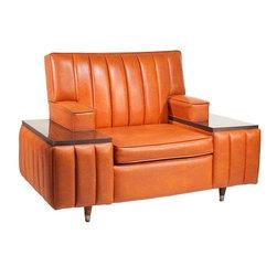 Consigned Mid Century Vintage Orange Naugahyde Lounge Chair - • Mid Century Vintage