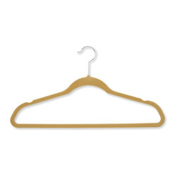 Honey Can Do - 50-Pack Velvet Touch Suit Hanger in Tan - Set of 50. 360 degree swivel rod hook. Super slim design. 0.25 in. profile saves valuable space. Durable, reliable and long-lasting. Lifetime limited warranty. Made from velvet and steel. Camel finish. No assembly required. 17.75 in. L x 0.27 in. W x 9.5 in. H (9 lbs.)Velvet Touch Suit Hanger, beautiful, soft and durable this clothes hanger is contoured to keep shirts, dresses, jackets, and pants perfectly wrinkle-free.