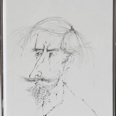 Leonardo Nierman, Self-Portrait 3, Ink Drawing - Artist:  Leonardo Nierman, Mexican (1932 - )