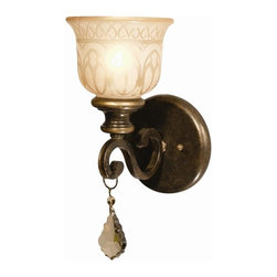 Crystorama - Wrought Iron Wall Sconce with Amber Glass Pattern - Golden Teak Strass Crystal Draped on a Wrought Iron Wall Sconce Hand painted with a Amber Glass Pattern.