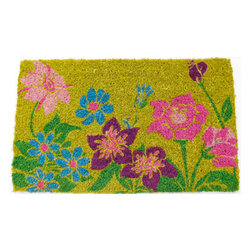 Entryways - Wildflower Power Hand Woven Coconut Fiber Doormat - Designed by an artist, this distinctive mat is a work of art that will add a welcoming touch to any home. It is from Entryways' handmade collection and meets the industry's highest standards. This decorative mat is handsomely hand woven and hand stenciled.