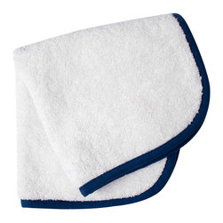 """Jonathan Adler - Jonathan Adler Navy Piped Washcloth - Jonathan Adler's stylish washcloth energizes bathrooms with the designer's """"happy chic"""" aesthetic. When edged with piping in a cool shade of navy, this everyday white shower essential becomes a contemporary accessory. 13""""W x 13""""H; 100% Pima cotton; 650 gsm"""