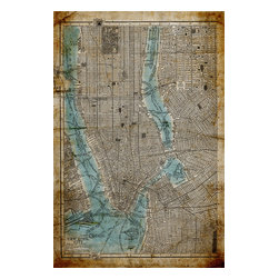 Antique Map: New York City, Print - A French Patisserie menu with subtle french graphics and detailing, this classic print is textured and dimensionally framed in distressed silver molding.