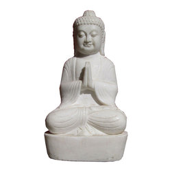 """Golden Lotus - Chinese Antique White Marble Hand Carving Sitting Buddha Statue - Look at this Chinese antique Buddha statue which is made of white marble.  The material is good quality white marble which is called """"HanBaiYu"""" in China.  It can put your living room, entrance hall way or garden."""