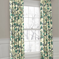 Blue & White Euro Pleat Drapery - Loom Decor Euro Pleated Drapery Panel in At First Blush - Ocean