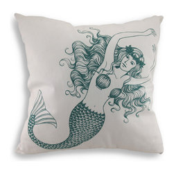 Zeckos - Blue and White Mermaid Cotton Canvas Throw Pillow 18 in. by 18 in. - Adding nautical beauty to your living room, bedroom or enclosed patio is so easy with this beautiful throw pillow! Made of 100% cotton canvas material, this white pillow features a pretty printed swimming mermaid with her hair falling all around her, a curvy tail and cleverly placed seashells! This blue-green mermaid will charm her way into your heart and your home to decorate your bed, chair or shelf in sweet nautical style. Measuring 18 inches by 18 inches, it features a hidden zipper on the back that makes it easy to remove the polyester filled pillow-form making cleaning a breeze(spot clean only is recommended)! Whether this pillow calls attention to an otherwise boring seat in your dining room or tucked under your arm while reading your favorite book, this pillow will add fun and functional style to any room!