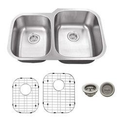 Schon - Schon 16 Gauge 32 x 20 3/4 40/60 7.5/9 Dsink - 16 Gauge Schon Undermount Sink Stainless Steel 40/60 Sink 32 x 20 3/4, Grids, Strainers