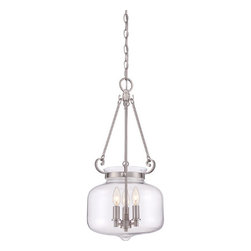 Quoizel - Stewart Brushed Nickel Three-Light Pendant - - A classic hanging pendant, Stewart is simple lighting done right. The clear glass bowl maximizes light output and is available in two finishes, Brushed Nickel and Western Bronze.  - Cord Length: 8 Feet  - Chain Length: 48-Inch  - Bulb is not included Quoizel - QF1782BN