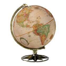"""Replogle - Compass Rose Desktop World Globe - This 12"""" antique-ocean stylish desktop globe pushes the envelope of classic form with  brass base shaped as the Compass Rose, which made its first appearance on nautical charts and maps in the 14th century."""