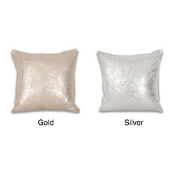 Thro - Crackle Metallic 18 x 18-inch Throw Pillow - This metallic throw pillow adds a beautiful look to your sofa. The pillow comes in your choice of gold or silver, depending on your room decor. It is filled with feathers, making it a soft resting place. The square pillow has a self welt edging.