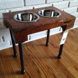 Reclaimed Wood Pet Feeder - Reclaimed wood raised dog feeder - promotes healthy digestion for your pet. Email Reclaimed Things for more information at info@reclaimedthings.com