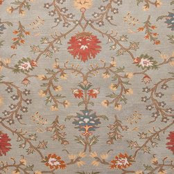 Jaipur Rugs - Transitional Floral Pattern Blue Wool Tufted Rug - PG01, 8x11 - Deftly balanced between traditional and modern, the Passages Collection breathes new life into the familiar. Plush hand-tufted wool showcases the ranges simplified patterns, contemporary scales and rich shades of pumpkin, blue and sea bronze green.
