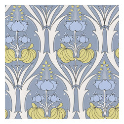 Graham and Brown - Amy Butler Wallpaper - Passion Lily - Stone - Passion Lily bursts upwards with fresh blooms that are tucked inside the elegant structire of a graphic trellis.