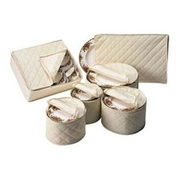 """Richards Homewares Inc - China Dinnerware - Canvas Storage - Fine china should never be kept in vinyl cases. Over a period of time vinyl can release a gas that can damage fine gold edging. We prefer our complete Cotton Canvas Dinnerware Storage set. All cases include foam plate or chipboard cup dividers. Six piece set will store complete place settings for 12.Set includes:  Saucer plate case 7""""W x 7""""D x 5-1/2""""H  Dessert plate case 8""""W x 8""""D x 5-1/2""""H  Salad plate case 9-1/2"""" x 9-1/2""""D x 5-1/2""""H  Dinner plate case 12""""W x 12""""D x 5-1/2""""H  Platter case 18""""W x 12""""D x 1""""H with foam dividers  Cup chest 13-1/2""""W x 11-1/2""""D x 4""""H with chipboard dividers"""