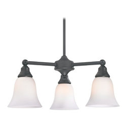 Design Classics Lighting - Chandelier with White Glass in Matte Black Finish - 598-07 GL9222-WH - Transitional matte black 3-light chandelier. Takes (3) 100-watt incandescent A19 bulb(s). Bulb(s) sold separately. UL listed. Dry location rated.