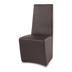 Zuri Furniture - Boston High Back Modern Dining Chair - Create a classic statement with the sophisticated Boston modern dining chair. Its formal vertical seat back is designed for comfort and visual appeal. The Boston is beautifully finished with high quality leatherette for easy cleaning and unique stainless steel base. Available in brown, White or black.