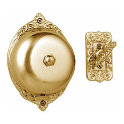 """Renovators Supply - Door Bells Bright Solid Brass Mechanical Door Bell RSF 3 1/2 Dia   23153 - Victorian Door Bell: Crafted from solid brass- this Victorian style- mechanical turn doorbell features an RSF finish that prevents tarnishing for years to come. Welcome your guests with the charming ring of this beautiful doorbell. No wiring is required- and it mounts through doors up to 1.5"""" inches thick. The bell diameter is 3 1/2 inches."""