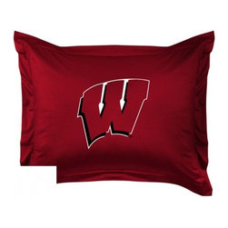 Sports Coverage - Wisconsin University Locker Room Collection Pillow Sham - Show your team spirit with this officially licensed 25 x 31 Wisconsin sham. There is a 2 flanged edge that decorates all four sides of each Wisconsin NCAA sham. Made of 100% polyester jersey mesh, just like the players wear, with screen printed Wisconsin logo in the center. Envelope closure in back. Fits standard pillow. Coordinates with Wisconsin Locker Room Collection. 3 overlapping envelope closure is on back.