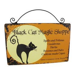 Zeckos - Black Cat Magic Shoppe Wooden Wall Plaque - Turn your house into the 'Black Cat Magic Shoppe' next Halloween with this adorable wall plaque. It advertises some of the magical things you may have for sale and special hours (evenings until dawn, of course) The sign is made of wood and measures 10 inches long and 8 1/2 inches tall, including the wire hanger.