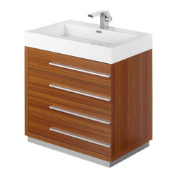 """Fresca - Livello 30"""" Teak Vanity w/ Medicine Cabinet Savio Brushed Nickel Faucet - The Livello 30"""" vanity features four pull out drawers that come equipped with slow closing hinges.  Its sink is made with a durable acrylic material that is less likely to break then tradition ceramic, it also cleans better.  This vanity's minimal design will make your bathroom feel like a modern oasis.  Many faucet styles to choose from."""
