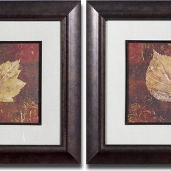 Grace Feyock - Grace Feyock Golden Fall I, II Wall Art / Wall Decor X-07533 - This set of earth tone prints is accented by mats that have a beige background with a gray woven texture. Frames and fillets have a bronze undertone with a dark brown and black wash. Prints are under glass.
