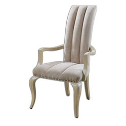 Uttermost - Lynna Tufted Armchair - A sumptuous seat for special bottom, this channel tufted, and ivory velvet armchair is a regal addition to your parlor. Polished nickel nails and a light almond finished frame make this cushiony seat both decorative and commodious.
