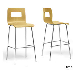 Baxton Studio - Baxton Studio Greta Modern Bar Stools (Set of 2) - Our Greta Modern Bar Stool features a light,natural birch-colored or white plywood seat sits atop a sturdy chrome-plated steel base with black plastic non-marking feet. This design is sold as a set of two and is not stackable.
